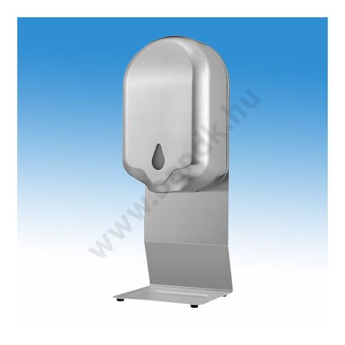 Asztalra tehető infrás, gél állagú kézfertőtlenítőszer adagoló r.m. acél burkolattal és lábbal, 1,1 l-es belső tartály