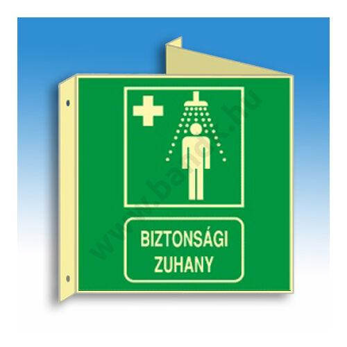 Vészzuhany jelző tábla (felirat+piktogram), faltól elálló, sátor alakú, kétoldalas, 150x150 mm (PVC), utánvilágító