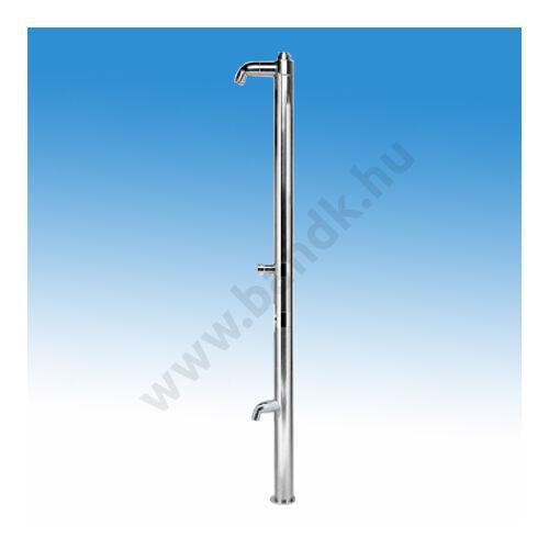 Egyfejes rozsdamentes szabadtéri zuhanyoszlop kevert vízre, lábmosóval, időzített, nyomógombos működtetéssel