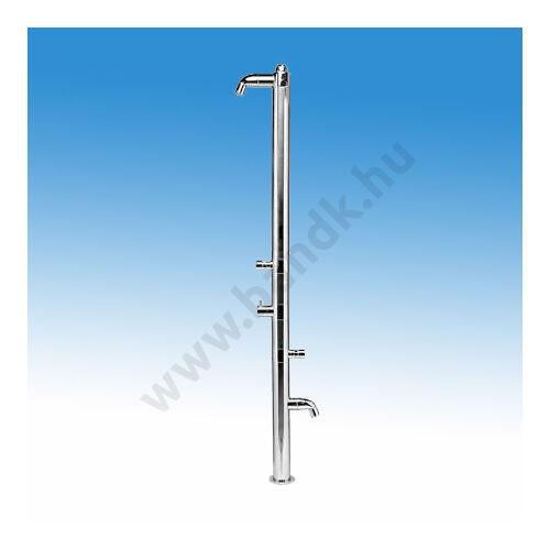 Egyfejes rozsdamentes szabadtéri zuhanyoszlop hideg-meleg vízre, lábmosóval, időzített, nyomógombos működtetéssel, termo
