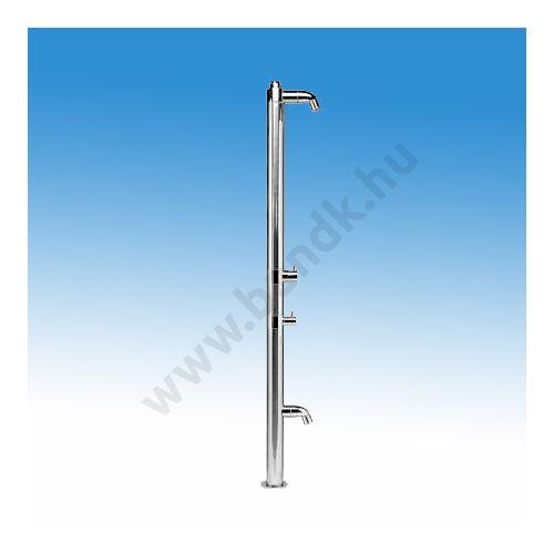 Egyfejes rozsdamentes szabadtéri zuhanyoszlop hideg-meleg vízre, lábmosóval, időzített, nyomógombos működtetéssel