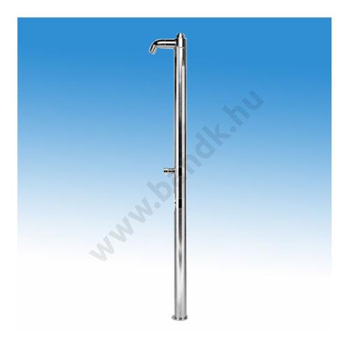 Egyfejes rozsdamentes szabadtéri zuhanyoszlop kevert vízre, időzített, nyomógombos csapteleppel szerelve