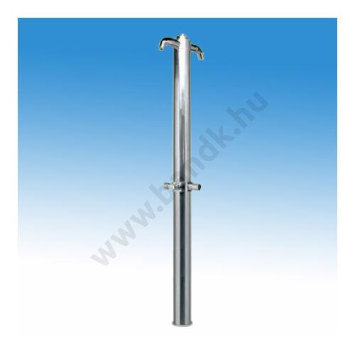Kétfejes rozsdamentes szabadtéri zuhanyoszlop kevert vízre, időzített, nyomógombos működtetéssel