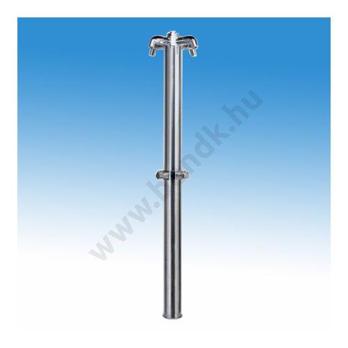 Négyfejes rozsdamentes szabadtéri zuhanyoszlop kevert vízre, időzített, nyomógombos működtetéssel