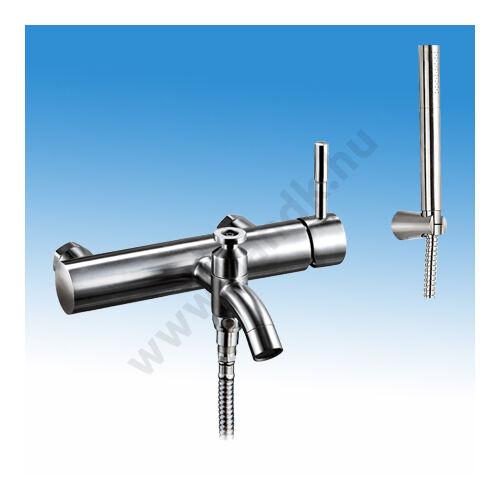 WEST Prémium Egykaros rozsdamentes csaptelep, kádtöltő és zuhany funkcióval, hideg és meleg vizre, kézi zuhannyal, zuhan