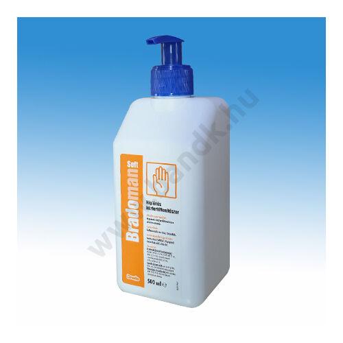 Bradoman Soft alkoholos kézfertőtlenítőszer 0,5 l-es pumpás kiszerelésben, baktericid, virucid, tuberkulocid, fungicid