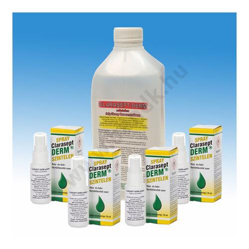 4 db pumpás-szórófejes Clarasept Derm (30ml) kézfertőtlenítőszer + Clarasept Derm utántöltő 1 l-es kiszerelésben